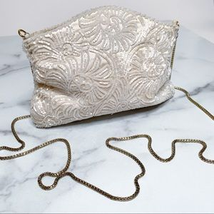 Vintage Art Deco Ivory Beaded Purse Clutch Handag